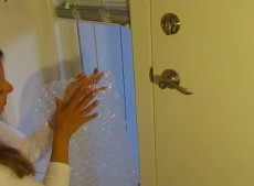 This woman covers her windows in bubble wrap for cheap window insulation. Seems to work well!