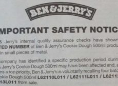 Ben & Jerry's Cookie Dough 500ml recall due to metal inside tubs!